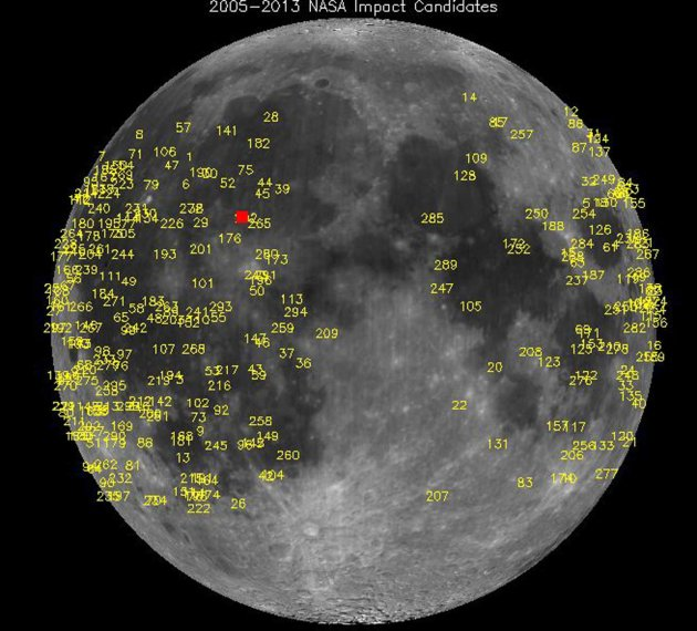 NASA handout photo of meteoroid impacts on the moon, detected by NASA's lunar monitoring program