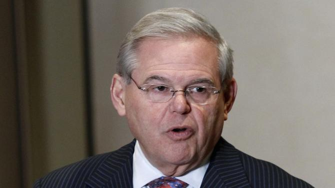 U.S. Senator Bob Menendez speaks during a news conference in Newark, New Jersey
