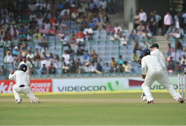Steven Smith of Australia being caught out by Ajinkya Rahane of India during the 4th test match of Border Gavaskar Trophy, at Ferozeshah Kotla Stadium in Delhi on March 22, 2013. P D Photo by Asish Ma