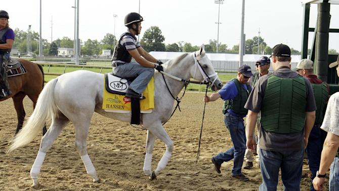 Exercise rider Joel Barrientos takes Kentucky Derby entrant Hansen into the starting gate for schooling before a workout at Churchill Downs Thursday, May 3, 2012, in Louisville, Ky. (AP Photo/Garry Jones)