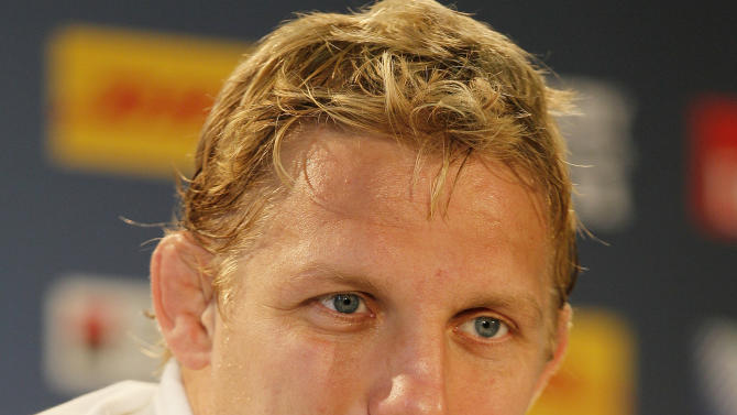 England rugby team captain Lewis Moody listens to a question from the media during a press conference at the Otago stadium in Dunedin, New Zealand, Friday, Sept., 23, 2011. England play their next Rugby World Cup match against Romania on Saturday, Sept. 24, in Dunedin.(AP Photo/Alastair Grant)