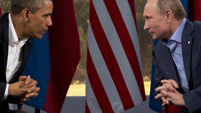 President Barack Obama meets with Russian President Vladimir Putin in Enniskillen, Northern Ireland, Monday, June 17, 2013. Obama and Putin discussed the ongoing conflict in Syria during their bilateral meeting. (AP Photo/Evan Vucci)