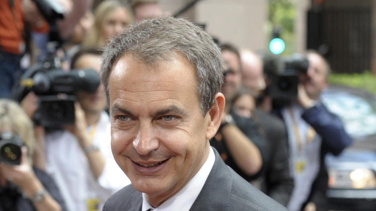 Spain's Prime Minister Jose Luis Rodriguez Zapatero arrives for an EU summit of eurogroup members at the EU Council building in Brussels on Thursday, July 21, 2011. Eurozone leaders are moving closer to signing off on a second bailout for Greece but markets are fretting that any deal that emerges later Thursday may imply a Greek debt default after a plan to slap a tax on banks appears to have been shelved. (AP Photo/Geert Vanden Wijngaert)