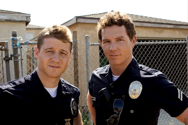 Ben McKenzie as Officer Ben Sherman and Shawn Hatosy as Officer Sammy Bryant in &quot;Southland.&quot; 