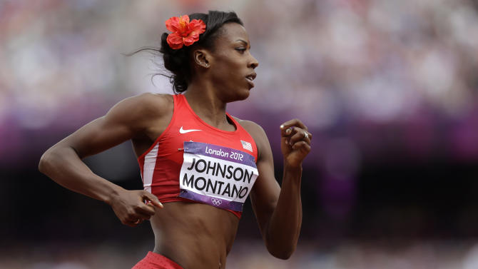 United States' Alysia Johnson Montano competes in a women's 800-meter heat during the athletics in the Olympic Stadium at the 2012 Summer Olympics, London, Wednesday, Aug. 8, 2012. (AP Photo/Anja Niedringhaus)