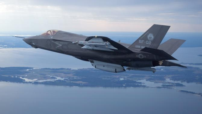 File photo of Lockheed Martin's F35 Joint Strike Fighter F-35B test aircraft BF-2 flying with external weapons