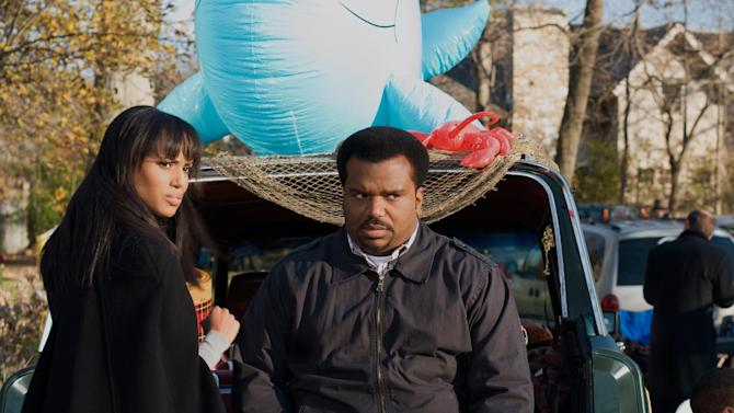 """This undated publicity photo released by Lionsgate shows, Kerry Washington, left, as Grace Peeples and Craig Robinson as Wade Walker in a scene from the film, Tyler Perry Presents """"Peeples.""""  (AP Photo/Lionsgate, Nicole Rivelli)"""