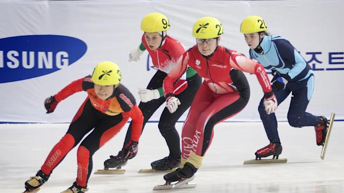 IMAGE DISTRIBUTED FOR SPECIAL OLYMPICS - From left, Li Juan Chen of China, Nikoletta Burjan of Hungary, Stephanie Cook of Canada, and Varvara Samoilova of Russia compete in the women's 500-meter final short track speed skating at the 2013 PyeongChang Special Olympics World Winter Games, in Gangneung, S. Korea on the fourth day of the competition, Friday, Feb. 01, 2013. (Manchul Kim/AP Images for Special Olympics)