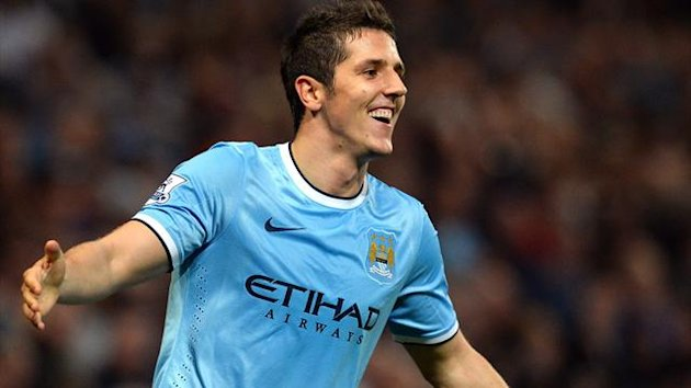 Manchester City's Stevan Jovetic scored his first two goals for the club (AFP)