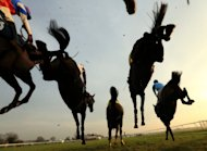Horses jump the last fence in The Betfred Mobile Novices' Handicap Steeple Chase