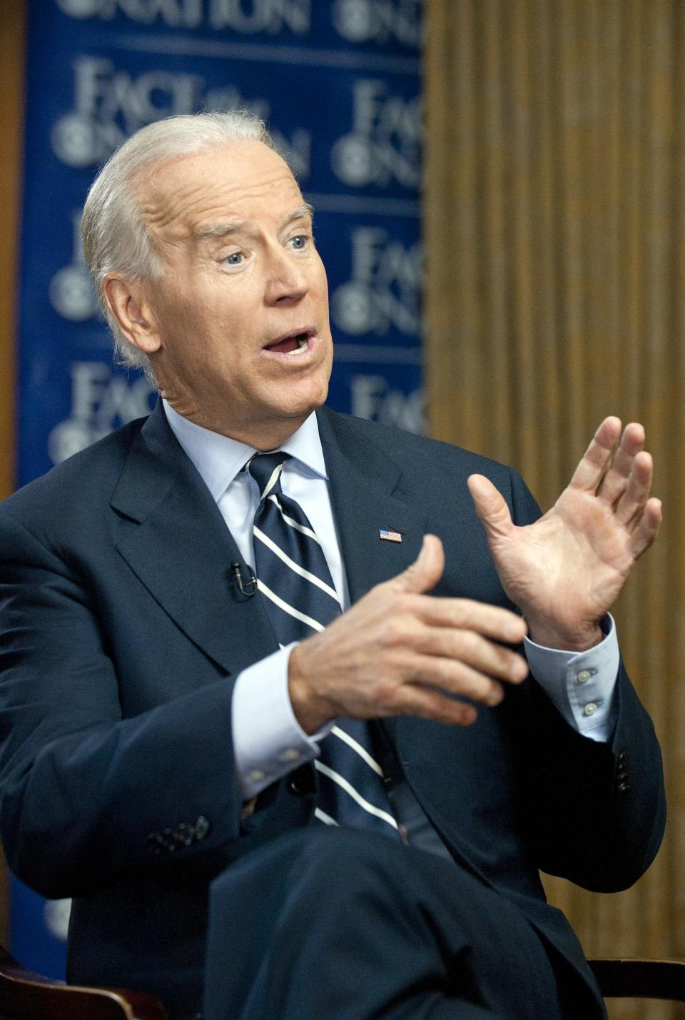 "In this March 29, 2012 photo provided by CBS News, Vice President Joseph Biden answers a question during a pre-taped interview for the CBS show ""Face the Nation"" in Milwaukee. (AP Photo/CBS News, Chris Usher)"