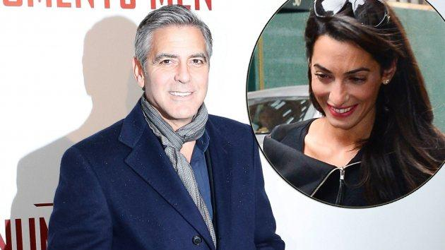 George Clooney on February 12, 2014 / inset: Amal Alamuddin on March 19, 2014 -- Getty Images