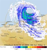 In this radar image by the Australian Bureau of Meteorology, the severe tropical cyclone &quot;Rusty&quot; is seen near the Pilbara region in western Australia at 2300 GMT on February 26, 2013. REUTERS/Australian Bureau of Meteorology/Handout