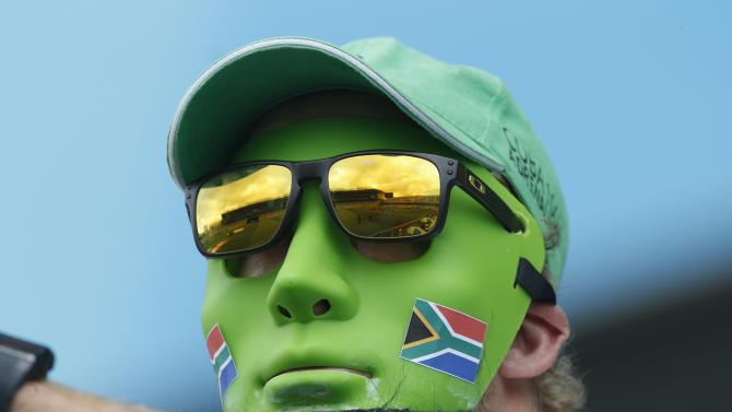 A South African fan surveys Eden Park before South Africa's Cricket World Cup match against Pakistan in Auckland