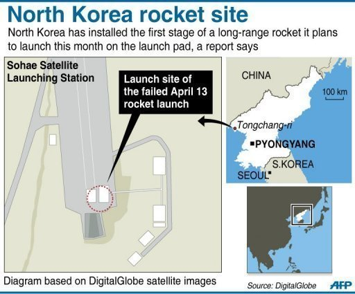 Graphic showing the Sohae Satellite Launch Station in North Korea. North Korea has installed the first stage of a long-range rocket it plans to launch this month on the launch pad, a report says