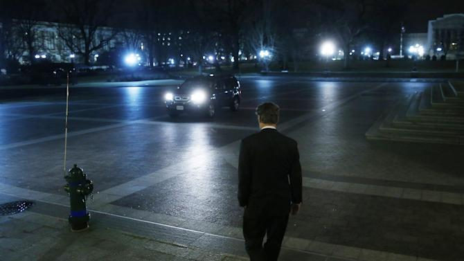 Sen. Rand Paul, R-Ky., walks to a waiting vehicle as he leaves the Capitol after his filibuster of the nomination of John Brennan to be CIA director on Capitol Hill in Washington, early Thursday, March 7, 2013. Senate Democrats pushed Wednesday for speedy confirmation of John Brennan's nomination to be CIA director but ran into a snag after Paul began a lengthy speech over the legality of potential drone strikes on U.S. soil. But Paul stalled the chamber to start what he called a filibuster of Brennan's nomination. (AP Photo/Charles Dharapak)