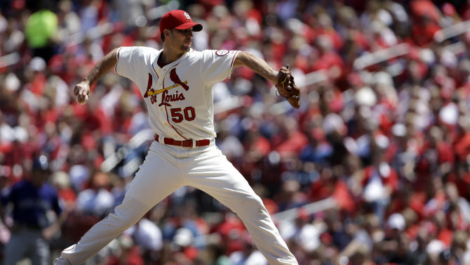 St. Louis Cardinals starting pitcher Adam Wainwright throws during the fourth inning of a baseball game against the Colorado Rockies Saturday, May 11, 2013, in St. Louis. (AP Photo/Jeff Roberson)