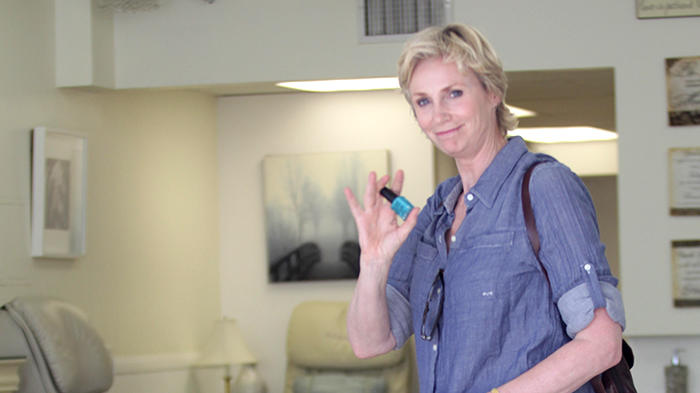 Jane Lynch with her dog is spotted going to the nail salon in Hollywood, CA