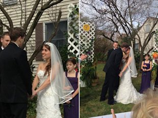 Jillian Migliaccio and Nicholas Stugard went through with their Nov. 2 wedding in New York, despite the hurricane.