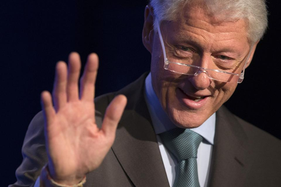 "Former U.S. President Bill Clinton speaks during a session called ""Expanding Cross-Sector Coordination in Haiti"" at the Clinton Global Initiative 2013 in New York"