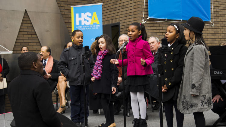 "IMAGE DISTRIBUTED FOR HARLEM SCHOOL OF THE ARTS - Students from the Harlem School for the Arts perform at the ""Harlem School of the Arts - The Herb Alpert Center"" building naming ceremony, on Monday, March 11, 2013 in New York. (Photo by Charles Sykes/Invision for Harlem School of the Arts/AP Images)"