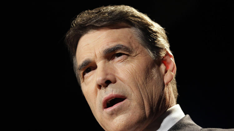 Texas Gov. Rick Perry speaks during the RedState Gathering, a meeting of conservative activists, in Charleston, S.C., Saturday, Aug. 13, 2011, where he announced he was joining the 2012 presidential race. (AP Photo/Gerry Broome)