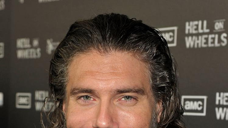 "Anson Mount arrives at the premiere of AMC's ""Hell on Wheels"" at LA Live on October 27, 2011 in Los Angeles, California."