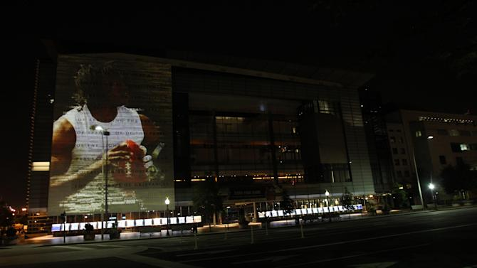 COMMERCIAL IMAGE - Redskins quarterback Robert Griffin III is featured in adidas' adizero projection on Thursday, Aug. 23, 2012 at the Newseum in Washington. (Photo by Paul Morigi/Invision for adidas/AP Images)