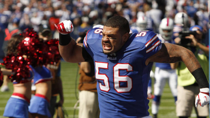 Buffalo Bills' Shawne Merriman (56) takes the field at the start of an NFL football game against the Oakland Raiders in Orchard Park, N.Y., Sunday, Sept. 18, 2011. (AP Photo/Derek Gee)
