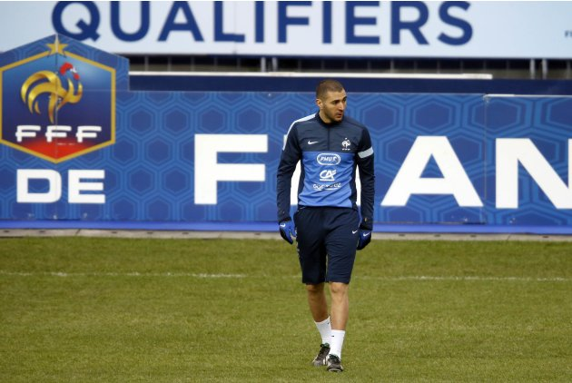 France's national soccer team player Benzema attends a training session at Stade de France's stadium in St-Denis