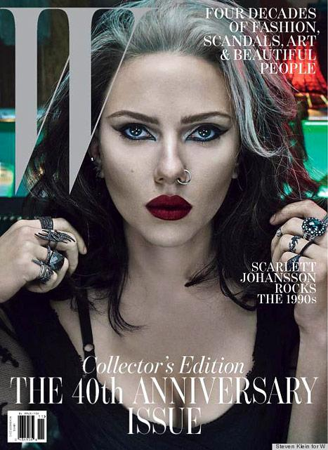 Scarlett Johansson Rocks Gray Hair, Nose Ring on W Magazine Cover