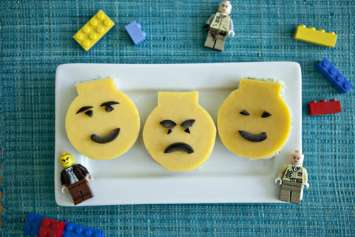 Lego Man Pesto Cheese Sandwiches