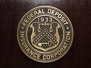 The Federal Deposit Insurance Corp (FDIC) logo is seen at the FDIC headquarters in Washington
