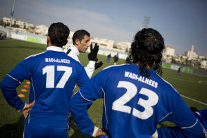 In this Friday Feb. 7, 2014 photo, Wadi al-Nees players …