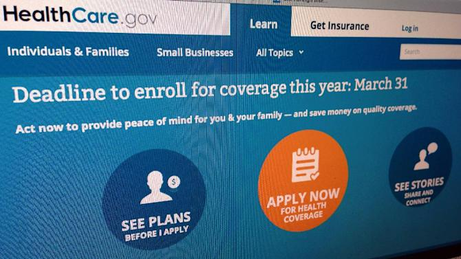 This March 25, 2014, photo shows part of the website for HealthCare.gov as photographed in Washington. If you're waiting until the last minute to sign up for coverage under President Barack Obama's health care law, a little extra patience might come in handy. HealthCare.gov, the online portal to taxpayer-subsidized health insurance, runs slowly when compared with major private health insurer websites. That's according to an analysis for The Associated Press by Compuware, a Detroit company that measures website performance. (AP Photo/Jon Elswick)