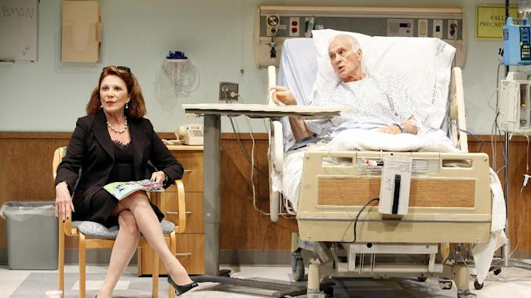"FILE - This image released by Sam Rudy Media Relations shows Dick Latessa, right, and Linda Lavin in a scene from Nicky Silver's play  ""The Lyons,"" at the Vineyard Theatre in New York. Producers on Tuesday, Feb. 21, 2012 said that the play about a family grappling with the impending death of its patriarch will move to Broadway, with preview performances beginning in early April at the Cort Theatre. (AP Photo/ Sam Rudy Media Relations, Carol Rosegg)"