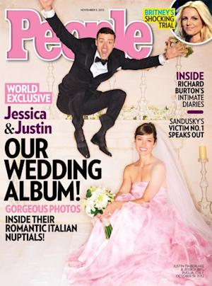 Justin Timberlake and Jessica Biel on the cover of People magazine Nover 5, 2012 issue -- People