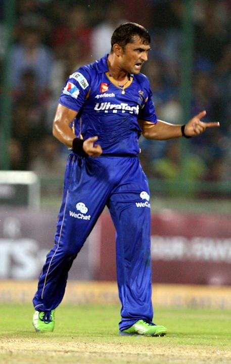 Pravin Tambe celebrates after fall of a wicket during the CLT20 Final between Rajasthan Royals and Chennai Super Kings at Feroz Shah Kotla stadium, in Delhi on Oct. 6, 2013. (Photo: IANS)