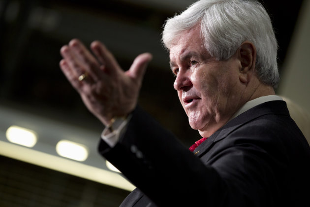 Republican presidential candidate, former House Speaker Newt Gingrich speaks during a campaign stop at Jergens, Inc., Wednesday, Feb. 8, 2012, in Cleveland, Ohio. (AP Photo/Evan Vucci)