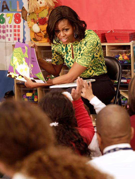 Michelle Obama reads to children at the Royal Castle Child Development Center, Nov. 1, 2011, in New Orleans, La.
