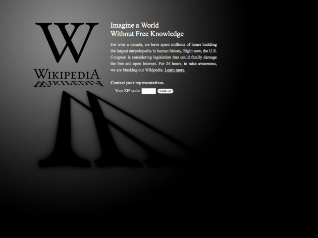 This screen shot shows the blacked-out Wikipedia website, announcing a 24-hour protest against proposed legislation in the U.S. Congress, intended to protect intellectual property that critics say could facilitate censorship, referred to as the &quot;Stop Online Piracy Act,&quot; or &quot;SOPA,&quot; and the &quot;Protect IP Act,&quot; or &quot;PIPA.&quot; (AP Photo/Wikipedia)
