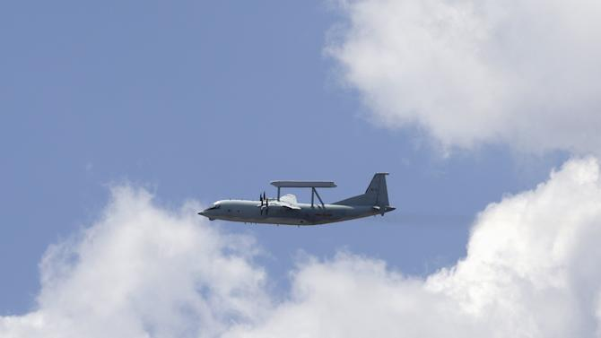 A KJ-200 surveillance aircraft of the Chinese Air Force flies during a training session on the outskirts of Beijing