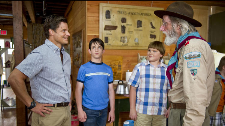"This undated film image released by 20th Century Fox shows, from left, Steve Zahn, Zachary Gordon, Robert Capron and Frank C. Turner in a scene from ""Diary of a Wimpy Kid: Dog Days."" (AP Photo/20th Century Fox, Diyah Pera)"