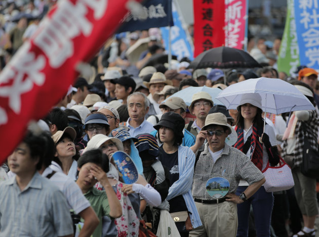 Anti-nuclear protesters stage a rally in Hiroshima, western Japan, Saturday, Aug. 4, 2012. Hiroshima will mark the 67th anniversary of the atomic bombing on Aug. 6. (AP Photo/Itsuo Inouye)