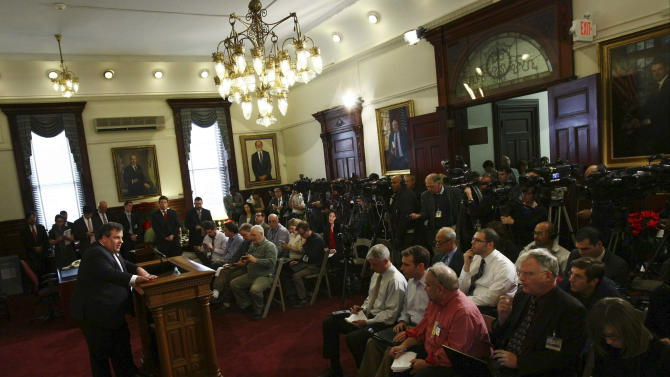 "In this photo provided by the Office of the Governor of New Jersey, Gov. Chris Christie speaks at a news conference at New Jersey's State House on Wednesday, Jan. 2, 2013, in Trenton, N.J. Christie blasted fellow Republican John Boehner for the House Speaker's decision Tuesday to delay a vote on Superstorm Sandy relief and says the inaction is ""inexcusable."" Republican Rep. Peter King of New York on Wednesday said Boehner has promised votes to aid victims of Superstorm Sandy by Jan. 15. (AP Photo/New Jersey Governor's Office, Tim Larsen)"