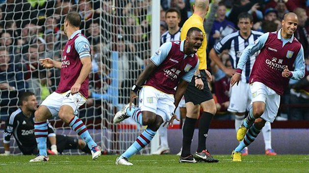 Aston Villa's Darren Bent (C) celebrates scoring against West Bromwich Albion during their English Premier League match at Villa Park in Birmingham September 30, 2012.
