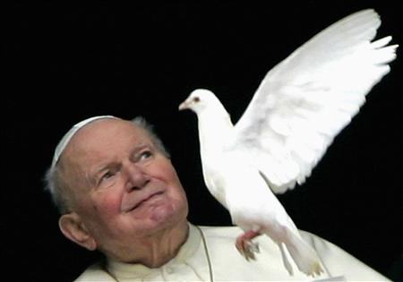 File photo of John Paul II at his private apartment at the end of the Sunday Angelus prayer at the Vatican
