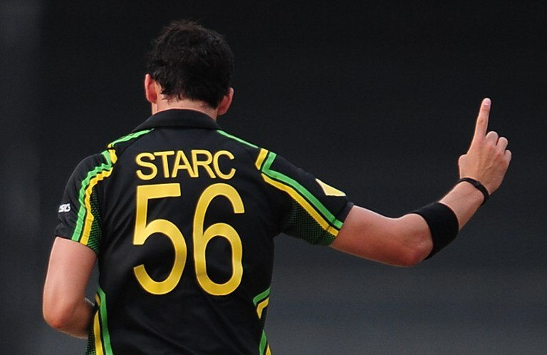 Australian cricketer Mitchell Starc celebrates after he dismissed Ireland cricketer Trent Johnston during the ICC Twenty20 Cricket World Cup match between Australia and Ireland at the R. Premadasa Sta