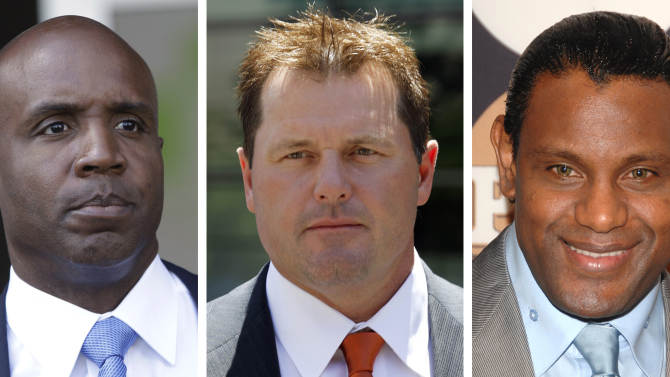 """FILE - At left, in a June 23, 2011 file photo, former San Francisco Giants baseball player Barry Bonds leaves federal court in San Francisco. At center, in a July 14, 2011 file photo,  former Major League baseball pitcher Roger Clemens leaves federal court in Washington. At right in a May 13, 2009 file photo, former baseball player Sammy Sosa attends the People En Espanol """"50 Most Beautiful"""" gala in New York. Baseball's all-time home run king and its most decorated pitcher likely will be shut out of the Hall of Fame when the vote is announced in January. An AP survey shows that Bonds and Clemens, as well as Sammy Sosa, don't have enough votes to get into Cooperstown. (AP Photo/File)"""