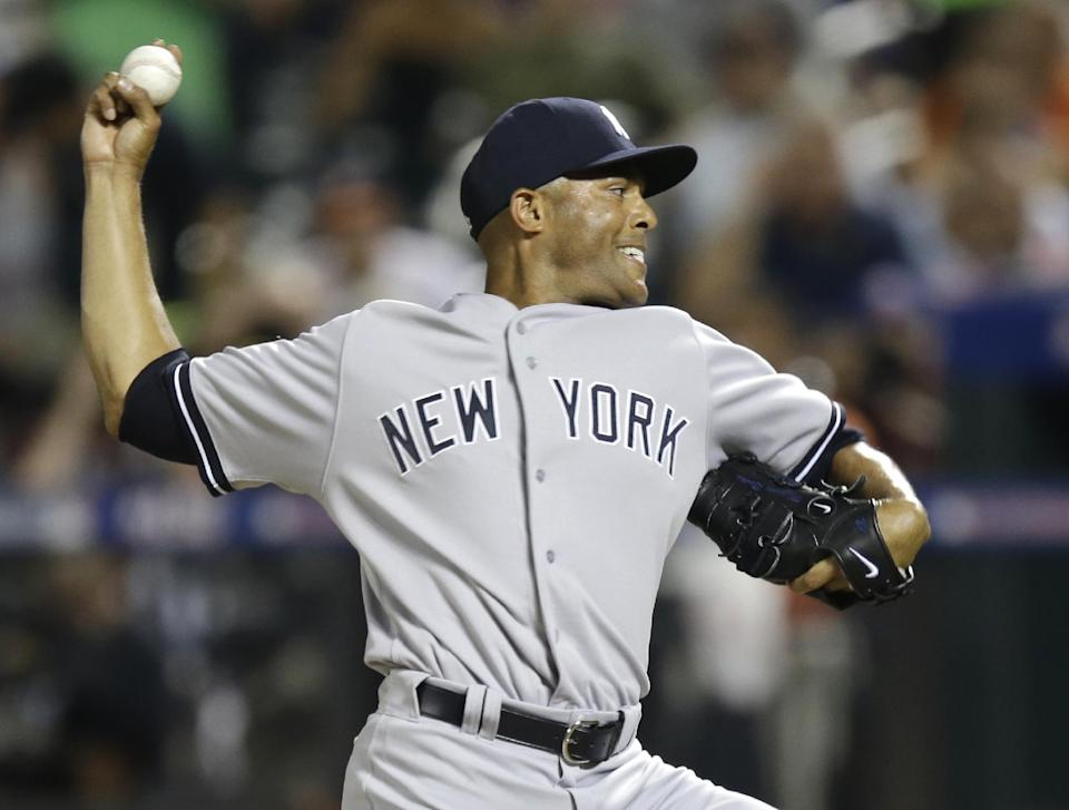 American League's Mariano Rivera, of the New York Yankees, pitches during the eighth inning of the MLB All-Star baseball game, on Tuesday, July 16, 2013, in New York. (AP Photo/Kathy Willens)